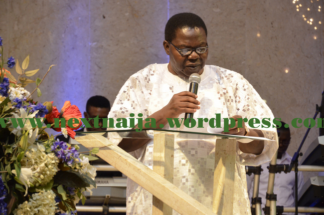 "Chief Ebenezer Obey, a Board Member of COSON speaking at ""Coson in Church"""