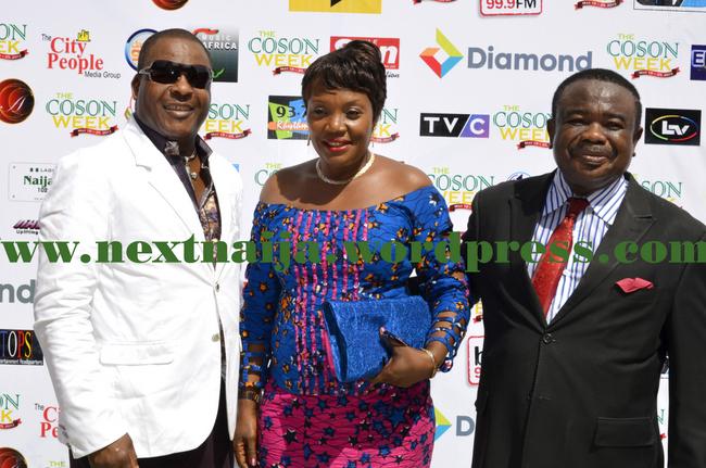 Sir Shina Peters, Tony Okoroji with a guest