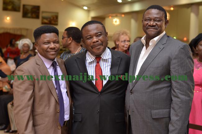Bisi Olatilo(r) Tony Okoroji with a guest