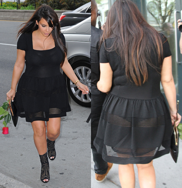 The pregnant star suffered a major wardrobe malfunction when she stepped out in a completely see-through black dress on date night with Kanye in New York City on April 24, 2013.