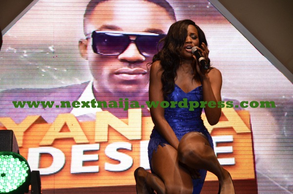 Seyi Shay on stage at Eko Hotel for Iyanya's album launch