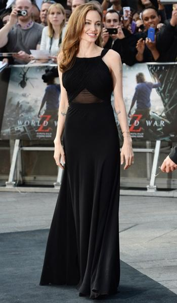 Jolie wore an elegant black dress for the London debut of PItt's new zombie film