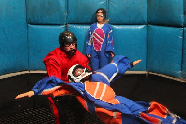 Justin with Jordan  inside the Sky Diving facility in Las Vegas