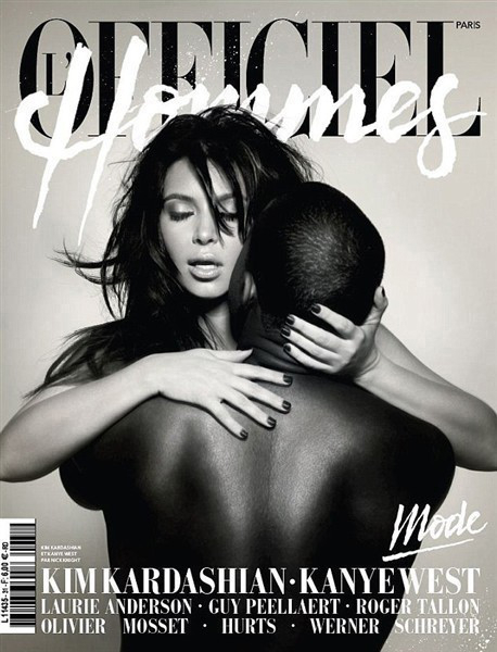 Kimye embrace each other on the racy cover of French magazine L'Officiel Hommes in February 2013