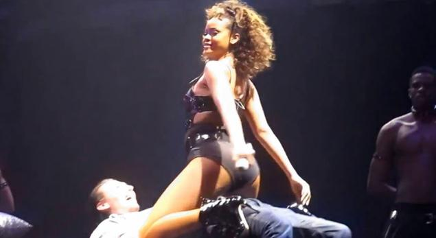 Rihanna shows off some stripper moves on stage at her show on Sunday