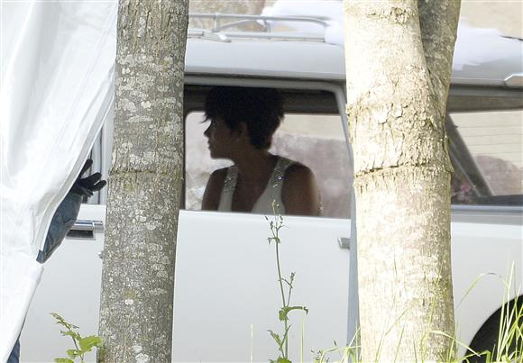 Halle Berry is snapped arriving at her wedding to Olivier Martinez at Chateau des Conde in Vallery, France, on July 13, 2012