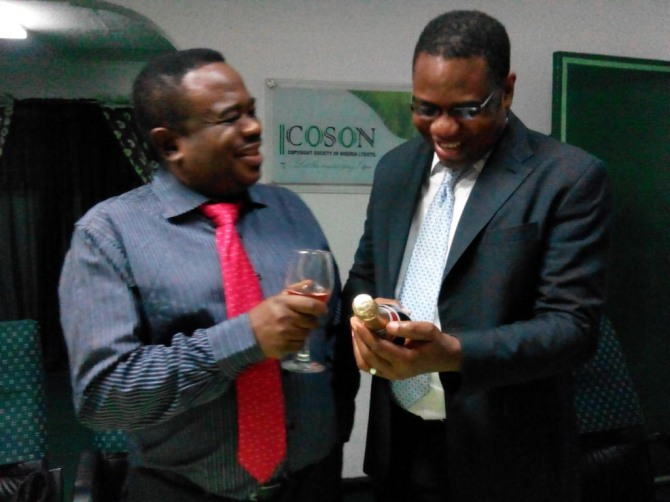 Champaigne flows at COSON- COSON Chairman Chief Tony Okoroji and GM, Chinedu Chukwuji celebrate the PRS for Music agreement